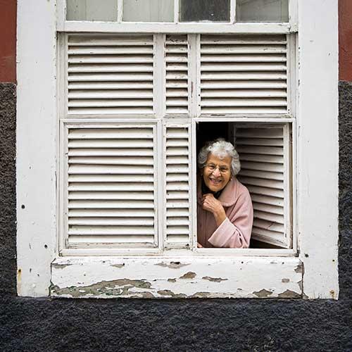 old woman in window